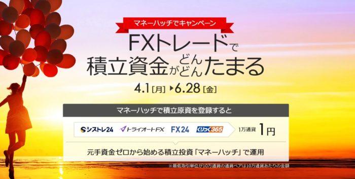 出典:トライオートFX公式サイト マネーハッチキャンペーン