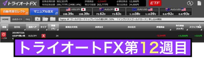 トライオートFXの運用実績:第12週の結果