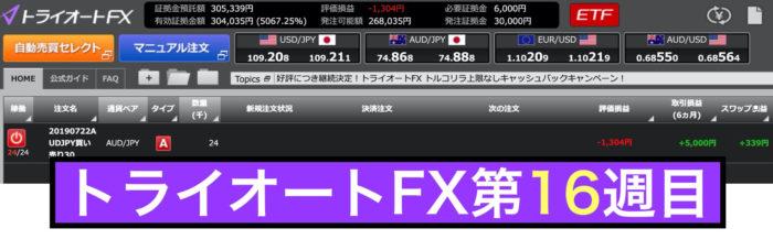 トライオートFXの運用実績:第16週の結果