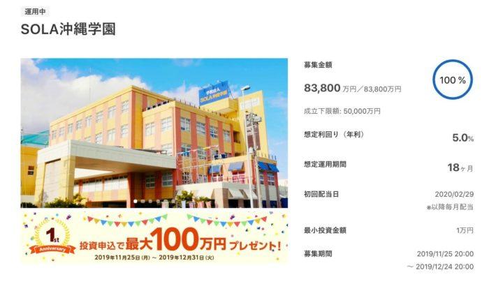 出典:CREAL(クリアル) SOLA沖縄学園ファンド詳細ページ