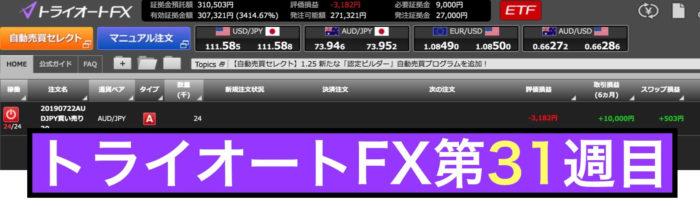 トライオートFXの運用実績:第31週の結果