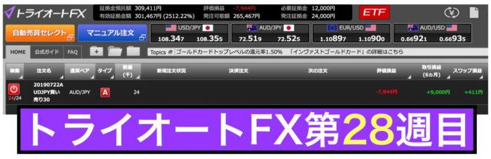 トライオートFXの運用実績:第28週の結果