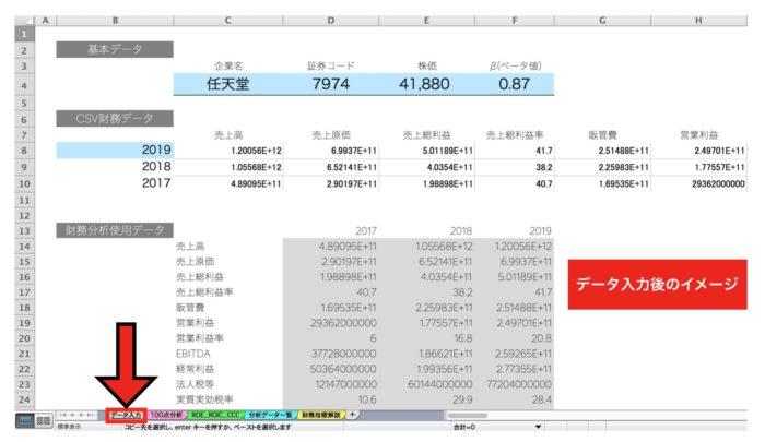 【IRIS】財務分析エクセルのデータ入力シート