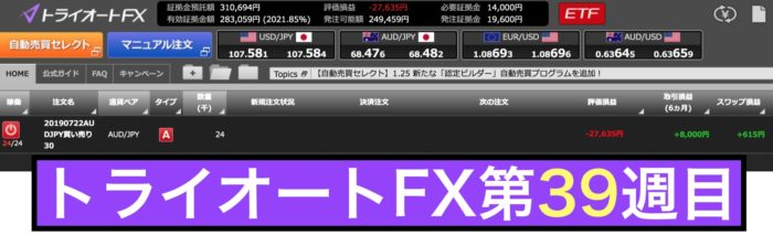 トライオートFXの運用実績(第39週)